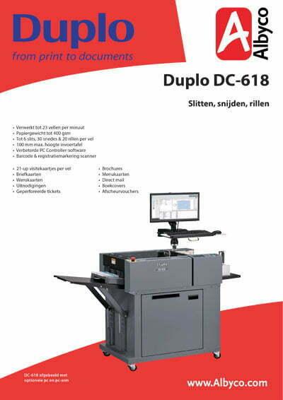 Bekijk hier de productfolder van de Duplo DC-618